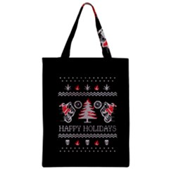 Motorcycle Santa Happy Holidays Ugly Christmas Black Background Zipper Classic Tote Bag