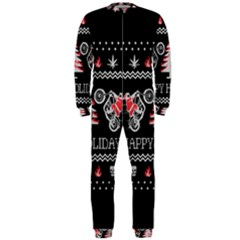 Motorcycle Santa Happy Holidays Ugly Christmas Black Background OnePiece Jumpsuit (Men)