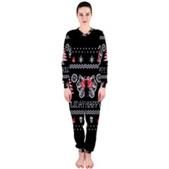 Motorcycle Santa Happy Holidays Ugly Christmas Black Background OnePiece Jumpsuit (Ladies)
