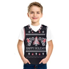 Motorcycle Santa Happy Holidays Ugly Christmas Black Background Kids  SportsWear
