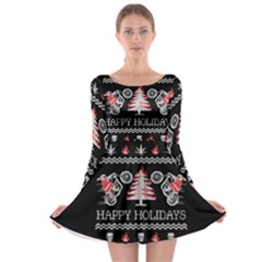 Motorcycle Santa Happy Holidays Ugly Christmas Black Background Long Sleeve Skater Dress