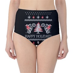 Motorcycle Santa Happy Holidays Ugly Christmas Black Background High-Waist Bikini Bottoms