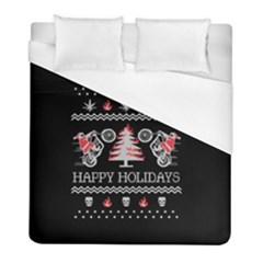 Motorcycle Santa Happy Holidays Ugly Christmas Black Background Duvet Cover (Full/ Double Size)