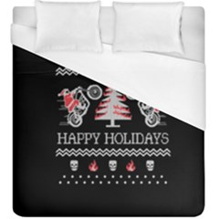 Motorcycle Santa Happy Holidays Ugly Christmas Black Background Duvet Cover (King Size)