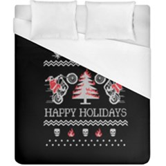 Motorcycle Santa Happy Holidays Ugly Christmas Black Background Duvet Cover (California King Size)