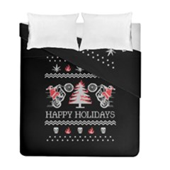Motorcycle Santa Happy Holidays Ugly Christmas Black Background Duvet Cover Double Side (Full/ Double Size)