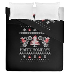 Motorcycle Santa Happy Holidays Ugly Christmas Black Background Duvet Cover Double Side (Queen Size)