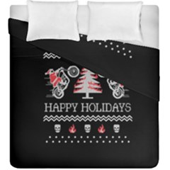 Motorcycle Santa Happy Holidays Ugly Christmas Black Background Duvet Cover Double Side (King Size)