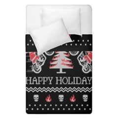 Motorcycle Santa Happy Holidays Ugly Christmas Black Background Duvet Cover Double Side (Single Size)