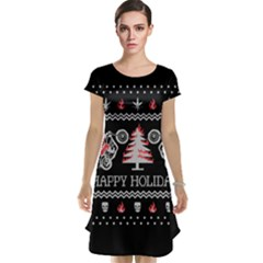 Motorcycle Santa Happy Holidays Ugly Christmas Black Background Cap Sleeve Nightdress