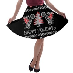 Motorcycle Santa Happy Holidays Ugly Christmas Black Background A-line Skater Skirt