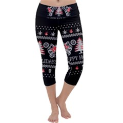 Motorcycle Santa Happy Holidays Ugly Christmas Black Background Capri Yoga Leggings