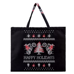 Motorcycle Santa Happy Holidays Ugly Christmas Black Background Zipper Large Tote Bag