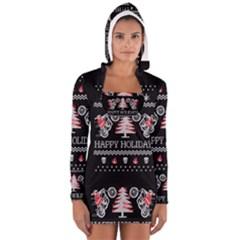 Motorcycle Santa Happy Holidays Ugly Christmas Black Background Women s Long Sleeve Hooded T-shirt