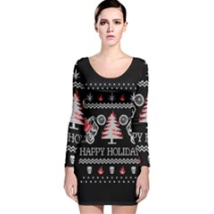 Motorcycle Santa Happy Holidays Ugly Christmas Black Background Long Sleeve Velvet Bodycon Dress