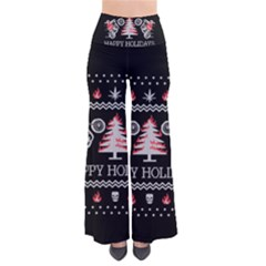 Motorcycle Santa Happy Holidays Ugly Christmas Black Background Pants