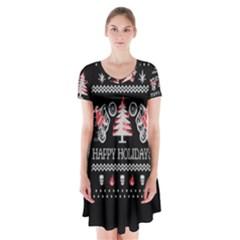 Motorcycle Santa Happy Holidays Ugly Christmas Black Background Short Sleeve V-neck Flare Dress