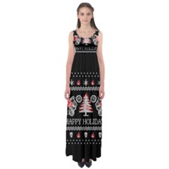 Motorcycle Santa Happy Holidays Ugly Christmas Black Background Empire Waist Maxi Dress