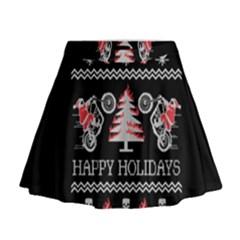 Motorcycle Santa Happy Holidays Ugly Christmas Black Background Mini Flare Skirt