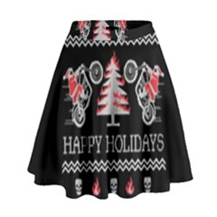Motorcycle Santa Happy Holidays Ugly Christmas Black Background High Waist Skirt
