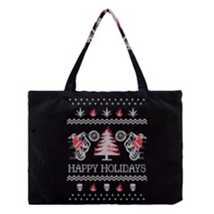 Motorcycle Santa Happy Holidays Ugly Christmas Black Background Medium Tote Bag