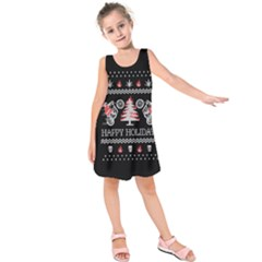 Motorcycle Santa Happy Holidays Ugly Christmas Black Background Kids  Sleeveless Dress