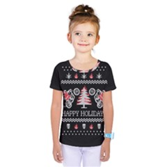 Motorcycle Santa Happy Holidays Ugly Christmas Black Background Kids  One Piece Tee