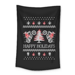 Motorcycle Santa Happy Holidays Ugly Christmas Black Background Small Tapestry