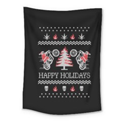 Motorcycle Santa Happy Holidays Ugly Christmas Black Background Medium Tapestry