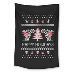 Motorcycle Santa Happy Holidays Ugly Christmas Black Background Large Tapestry