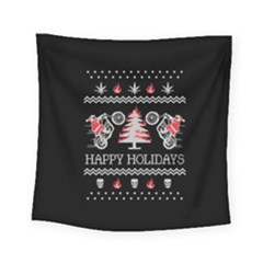 Motorcycle Santa Happy Holidays Ugly Christmas Black Background Square Tapestry (small)