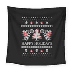 Motorcycle Santa Happy Holidays Ugly Christmas Black Background Square Tapestry (large)