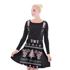 Motorcycle Santa Happy Holidays Ugly Christmas Black Background Suspender Skater Skirt
