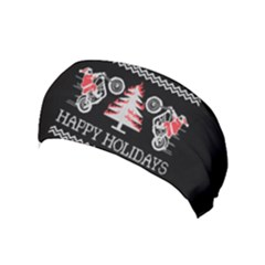 Motorcycle Santa Happy Holidays Ugly Christmas Black Background Yoga Headband