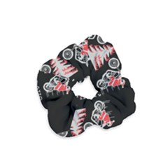 Motorcycle Santa Happy Holidays Ugly Christmas Black Background Velvet Scrunchie