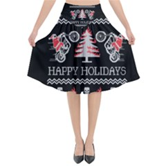 Motorcycle Santa Happy Holidays Ugly Christmas Black Background Flared Midi Skirt