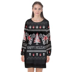 Motorcycle Santa Happy Holidays Ugly Christmas Black Background Long Sleeve Chiffon Shift Dress