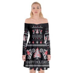 Motorcycle Santa Happy Holidays Ugly Christmas Black Background Off Shoulder Skater Dress