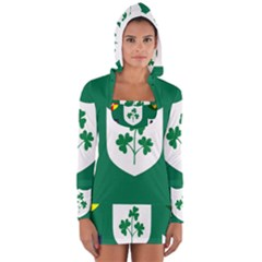Ireland National Rugby Union Flag Women s Long Sleeve Hooded T-shirt
