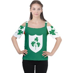 Ireland National Rugby Union Flag Women s Cutout Shoulder Tee