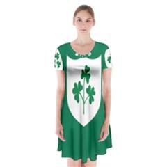 Ireland National Rugby Union Flag Short Sleeve V-neck Flare Dress
