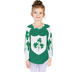 Ireland National Rugby Union Flag Kids  Long Sleeve Tee