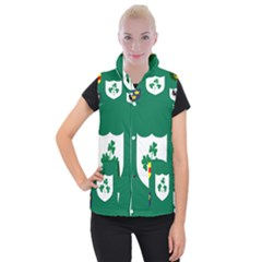 Ireland National Rugby Union Flag Women s Button Up Puffer Vest