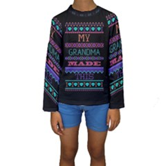My Grandma Made This Ugly Holiday Black Background Kids  Long Sleeve Swimwear