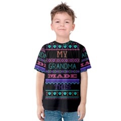 My Grandma Made This Ugly Holiday Black Background Kids  Cotton Tee