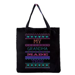 My Grandma Made This Ugly Holiday Black Background Grocery Tote Bag