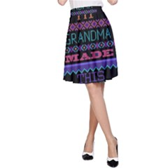 My Grandma Made This Ugly Holiday Black Background A-Line Skirt