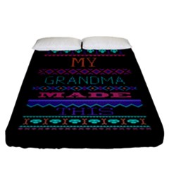 My Grandma Made This Ugly Holiday Black Background Fitted Sheet (California King Size)