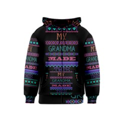 My Grandma Made This Ugly Holiday Black Background Kids  Zipper Hoodie