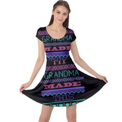 My Grandma Made This Ugly Holiday Black Background Cap Sleeve Dresses